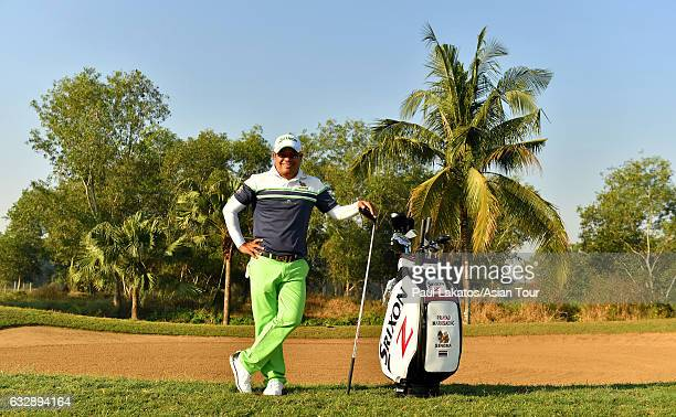 Prayad Marksaeng of Thailand poses for a picture ahead of round three of the Leopalace21 Myanmar Open at Pun Hlaing Golf Club on January 28 2017 in...