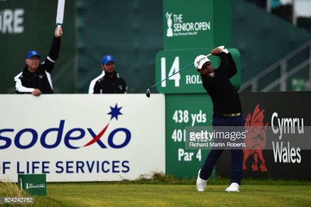 Prayad Marksaeng of Thailand tees off on the 14th hole during the third round of the Senior Open Championship presented by Rolex at Royal Porthcawl...