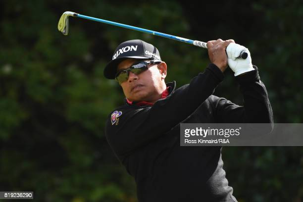 Prayad Marksaeng of Thailand tees off on the 5th hole during the first round of the 146th Open Championship at Royal Birkdale on July 20 2017 in...