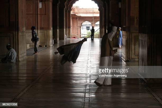 Prayer area and interior arches of Jama Masjid mosque, Delhi, India