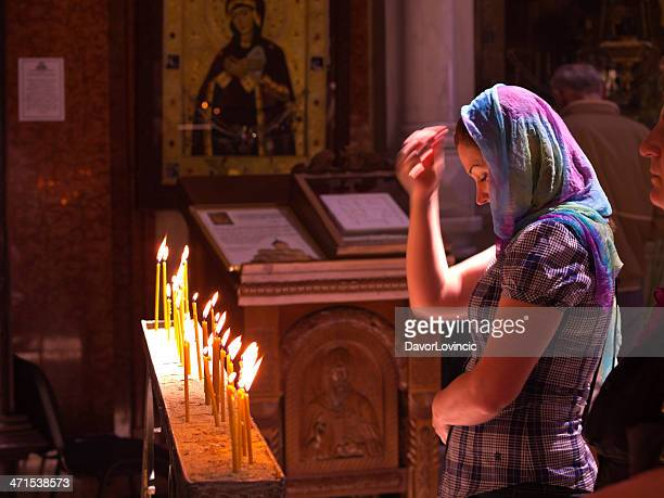 prayer at trinity - easter orthodox stock photos and pictures