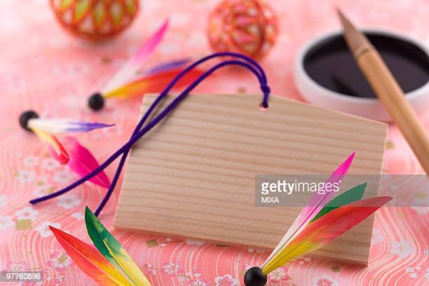 Prayer Blocks and calligraphy brush