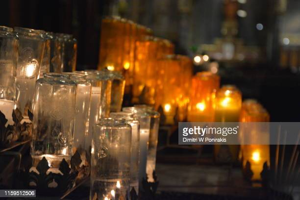 prayer candles, cathedral montreal - catholicism stock pictures, royalty-free photos & images