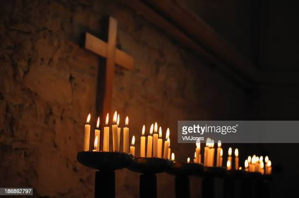 Prayer Candles with Religious Cross