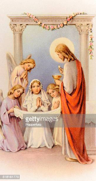 A prayer card illustration featuring Jesus Christ administering a young girl's First Communion in the company of angels published circa 1900