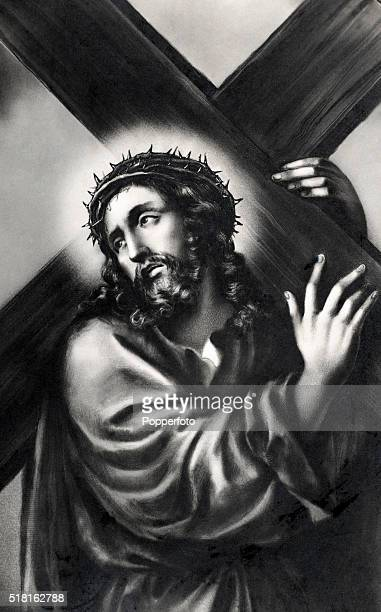 A prayer card illustration featuring Jesus Christ with a crown of thorns and a halo carrying a cross to his Crucifixion published circa 1900