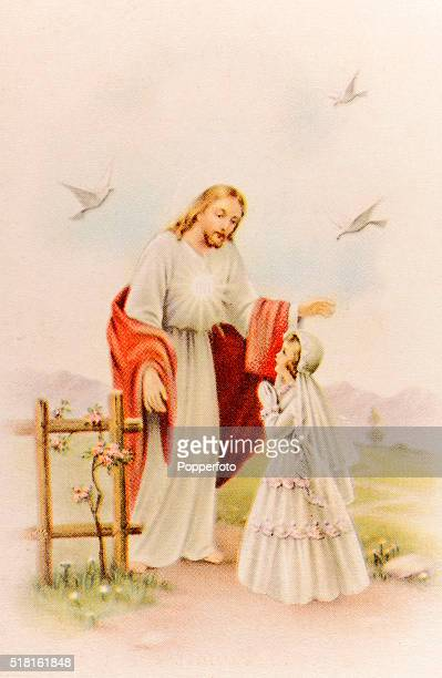 A prayer card illustration featuring Jesus Christ with a little girl dressed for her First Communion in a rural landscape published circa 1900