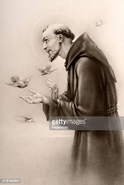 A prayer card illustration featuring Saint Francis of Assisi with the stigmata surrounded bya flock of birds published circa 1900