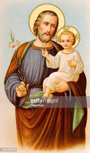 A prayer card illustration featuring Saint Joseph holding the baby Jesus and a lily published circa 1900