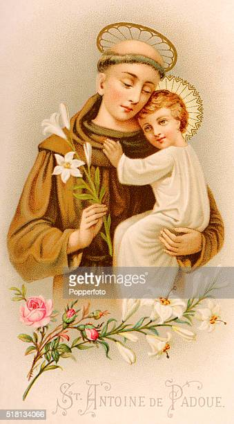 A prayer card illustration featuring the baby Jesus being held by Saint Anthony of Padua published circa 1900