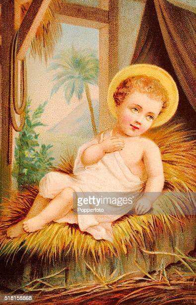 A prayer card illustration featuring the baby Jesus in a manger published circa 1900