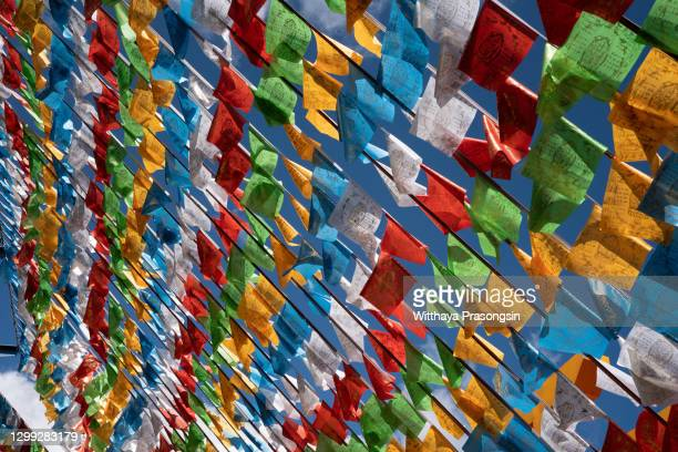 a prayer flag is a colorful panel of rectangular cloth, it is believed to have originated with bonn in tibet, traditionally they are woodblock-printed with texts and images. - tibetaanse cultuur stockfoto's en -beelden