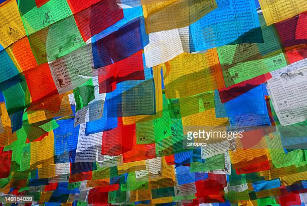 prayer flag - nepal stock pictures, royalty-free photos & images