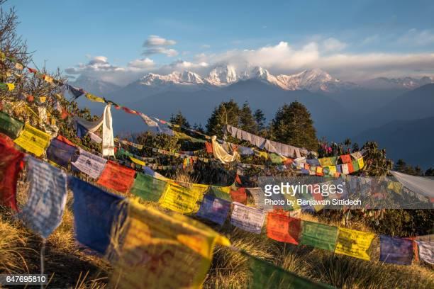 Prayer flags and Dhaulagiri mountain range