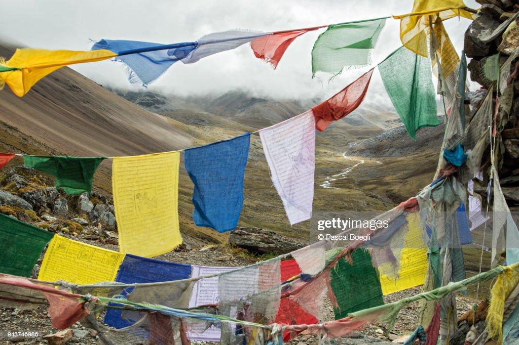 Prayer flags and river on the way to Nyile La pass, Thimphu District, Snowman Trek, Bhutan : Stock Photo