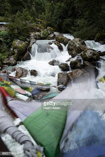 Prayer flags are used to bless the surrounding areas and are commonly seen streched out in any possible location along the trails on September 20...