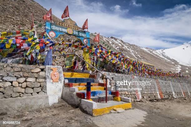 Prayer flags at Khardungla Pass, Ladakh, Jammu and Kashmir, India