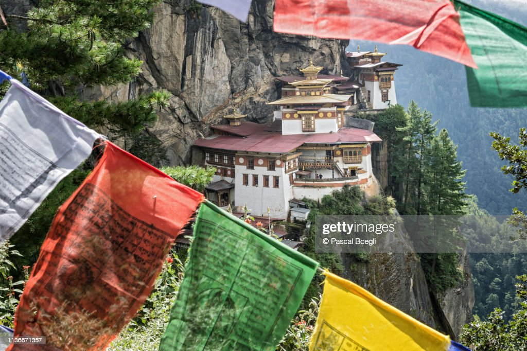 Prayer Flags at Taktsang Monastery (Tiger's Nest), Bhutan : Stock Photo
