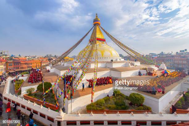 Prayer flags buddhist stupa at Boudhanath, Kathmandu, Nepal