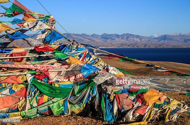 Prayer Flags by Lake Manasarovar, Ngari, Tibet