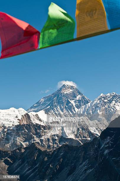 Prayer flags flying over Mt Everest summit Himalayas Nepal