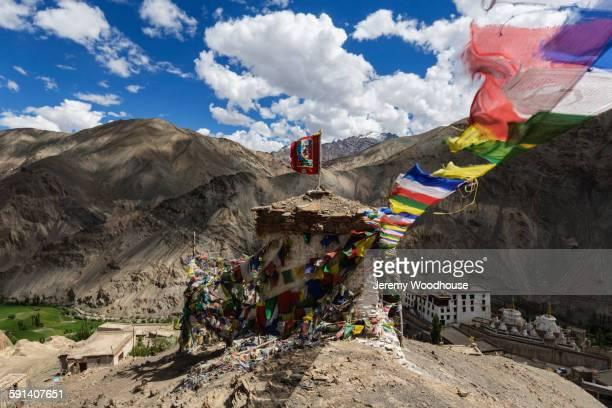Prayer flags hanging from Lamayru Monastery, Ladakh, India
