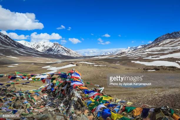 Prayer flags on hill top Manali-Leh Road, Leh Ladakh, India