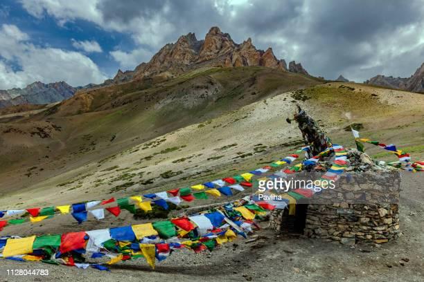 Gebedsvlaggen op berg pass Fatu La Pass, Jammu en Kashmir, Ladakh regio, Tibet, India