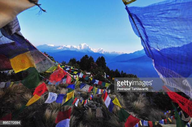 prayer flags on poon hill - annapurna conservation area stock photos and pictures