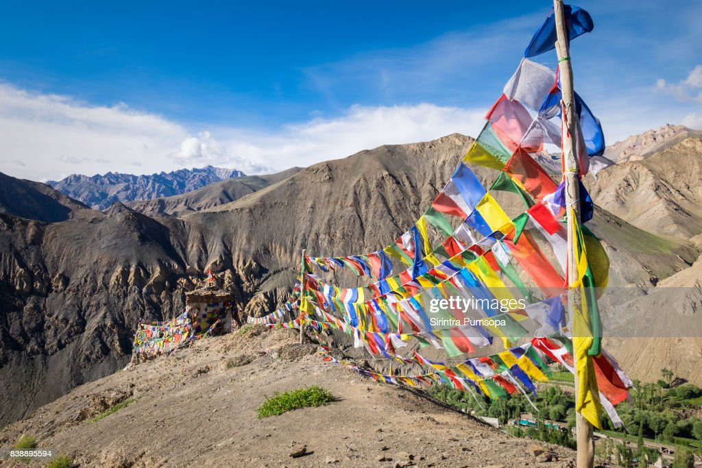 Prayer flags on the top of mountain near Lamayuru Monastery in Leh, Ladakh, Jammu and Kashmir, India : Stock Photo