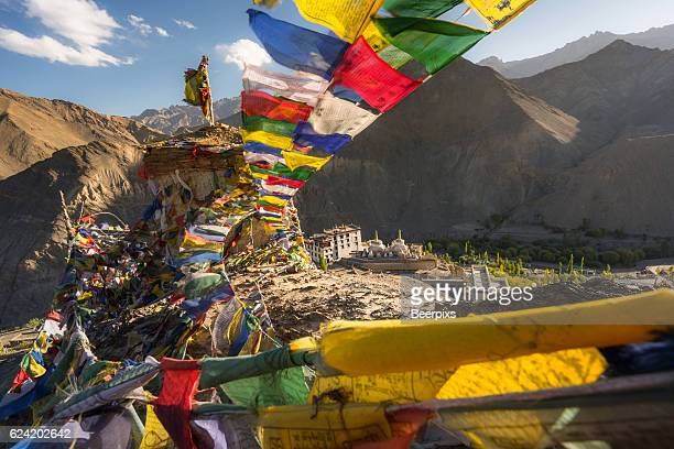 Prayer flags on the top of mountain near Lamayuru Monastery, Leh Ladakh, India.