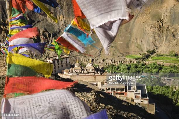 Prayer flags on the top of mountain near Lamayuru Monastery, Leh-Ladakh, India