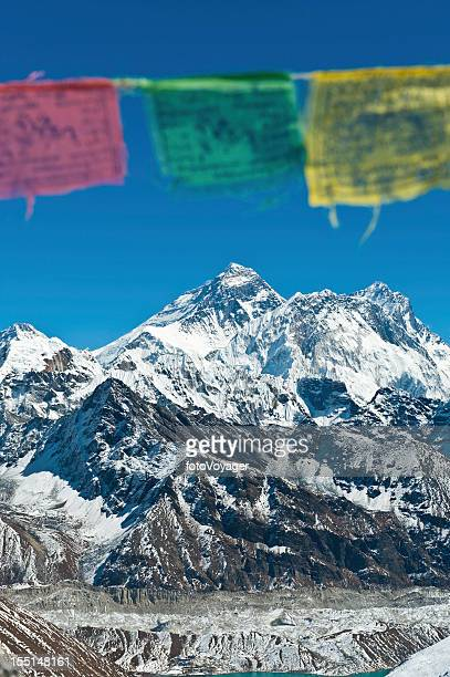 Prayer flags over Mt Everest Himalayas Nepal