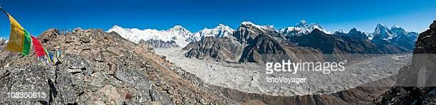Prayer flags peaks pinnacles panorama Everest summit vista Himalayas Nepal