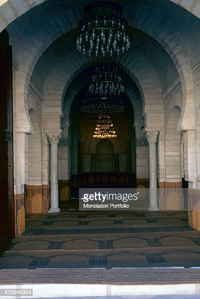 'Prayer Hall at the Great Mosque by Aghlabid craftmen from 850902 9th Century carved stones Tunisia Kairouan Whole artwork view Frontal view of the...