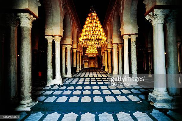 Prayer hall in the Great Mosque or Mosque of Uqba Kairouan Kairouan governorate Tunisia 7th9th century