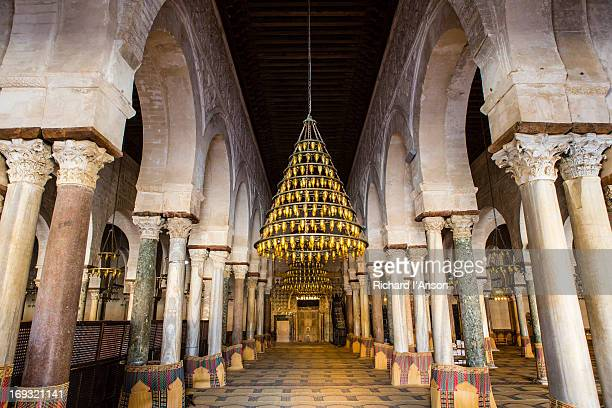 prayer hall in the great mosque (sidi okba mosque) - kairwan stock pictures, royalty-free photos & images