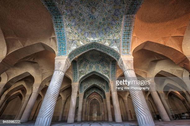 prayer hall of vakil mosque, shiraz, fars province, iran - shiraz fotografías e imágenes de stock