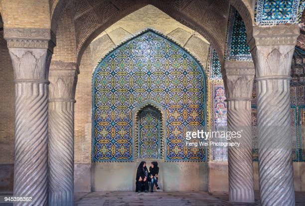 prayer hall of vakil mosque, shiraz, fars province, iran - shiraz stock photos and pictures