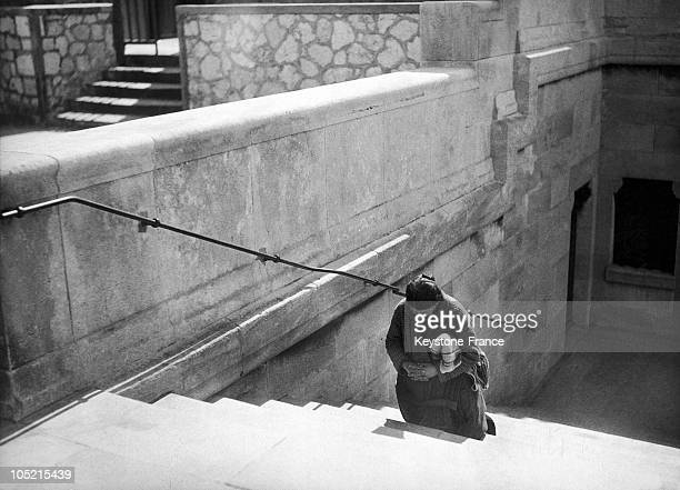Prayer In The Steps Of Notre Dame De La Garde In Marseille About 1930