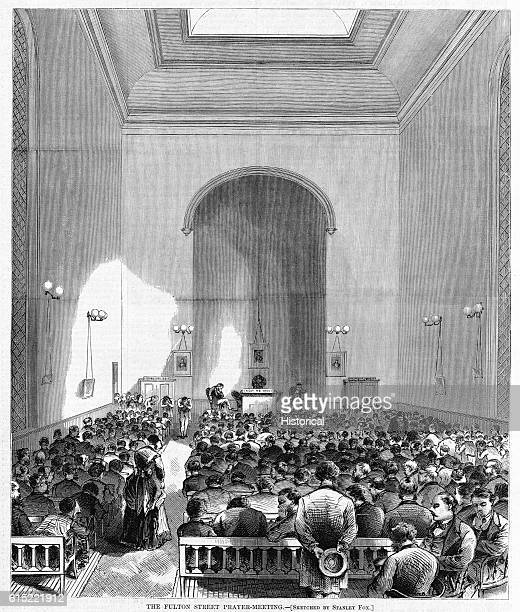 A prayer meeting held in the Consistory building of the Collegiate Reformed Church on Fulton Street New York City 1871