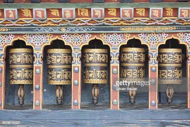 prayer mills in thimpu, bhutan, himalayas - bhutan stock pictures, royalty-free photos & images