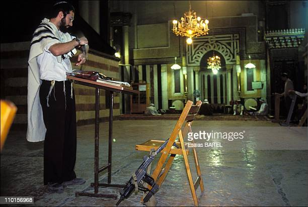 Prayer of Jewish settlers at the place of The Massacre in Palestine in Hebron, Israel on February 25, 1994.
