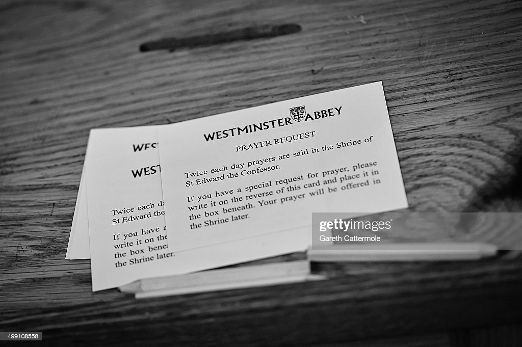 A prayer request card inside Westminster Abbey on November 17, 2015