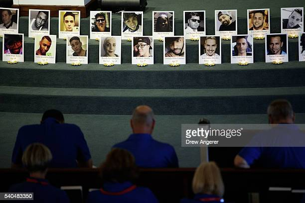 A prayer service is held for the victims of the Pulse Nightclub shooting at Delaney Street Baptist Church June 15 2016 in Orlando Florida The...