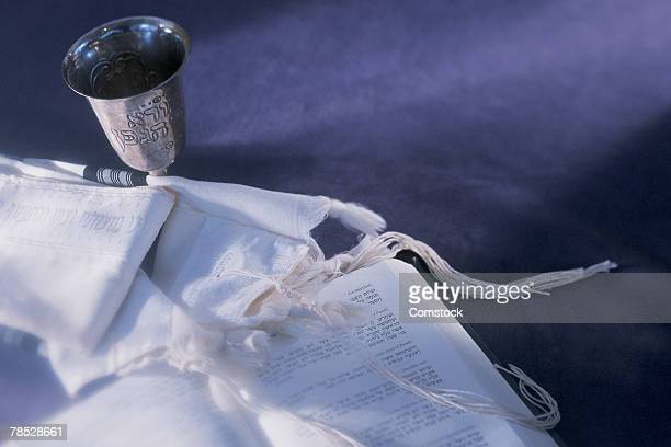 Prayer shawl , book and Kiddush cup