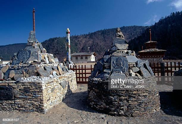 Prayer stones in Shangri-La, also known as Zhongdian or Gyalthang, Yunnan, China.