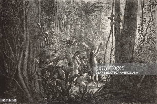 Prayer to the sun in the Amazon forest from the painting by FrancoisAuguste Biard illustration from Il Giro del mondo Journal of geography travel and...