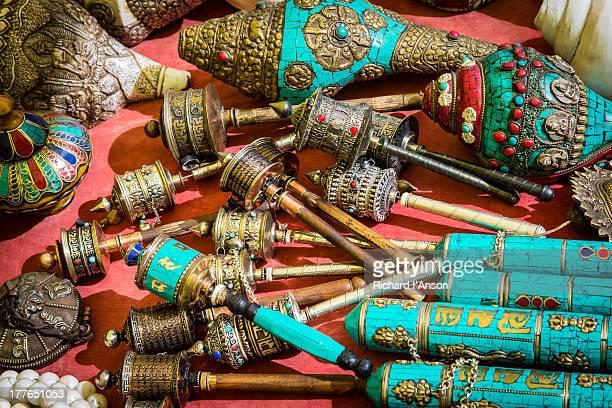 Prayer wheels & conch shells at Handicraft Market