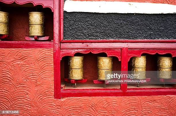 Prayer wheels in Thiksay Monastery